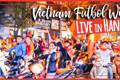Angela Carson: Hanoi street scenes  after Vietnam wins Semi Final AFC U23 match 2018